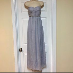 Strapless silver formal prom dress size medium